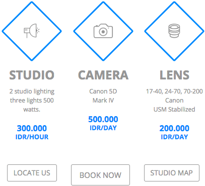 How much to rent the photo studio in Bali?
